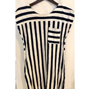 Madewell dress size S navy blue and white stripe